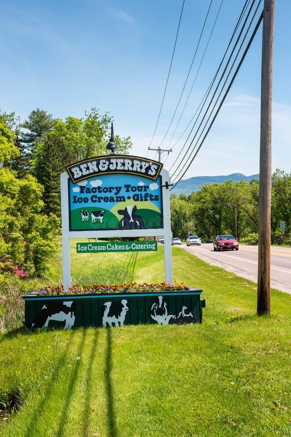 Extasie o sinal fábrica do gelado ao ` s de Ben & de Jerry em VT EUA de Waterbury imagem de stock
