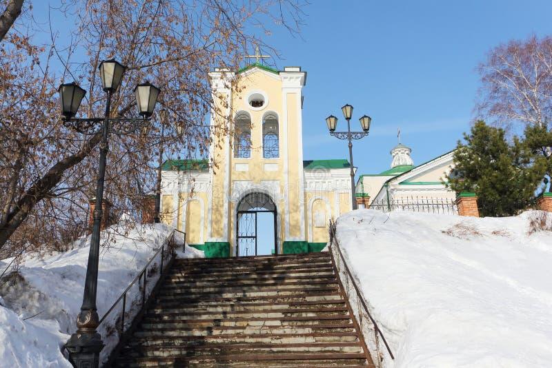 Extasie a porta a Roman Catholic Church, cidade de Tomsk, Rússia imagem de stock