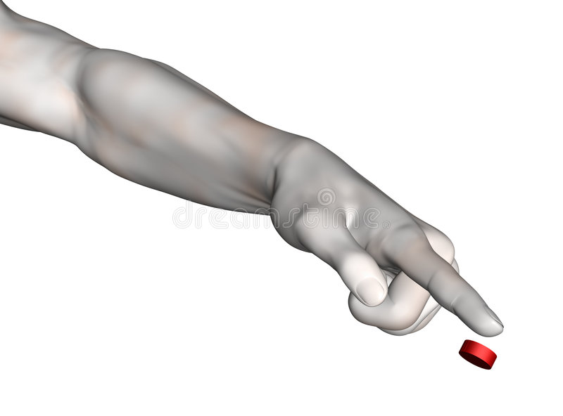 Extended arm with pointing hand stock image