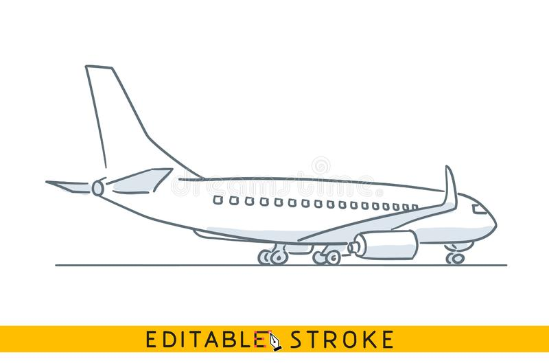 Airplane in airport. Freehand ink hand drawn icon sketch in doodle style stock illustration