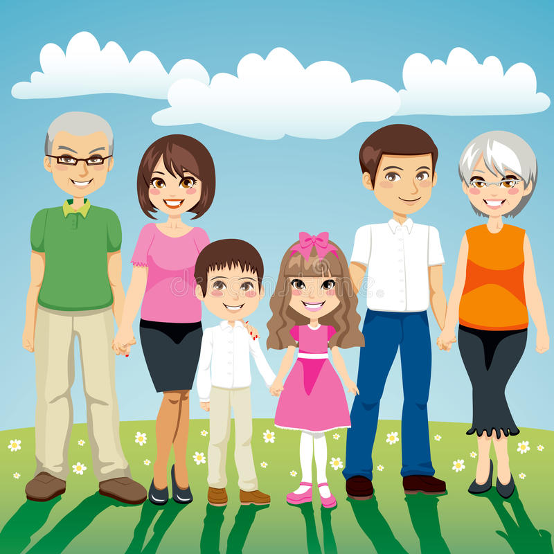 Extended Family. Portrait of six people extended family standing outdoors holding hands royalty free illustration