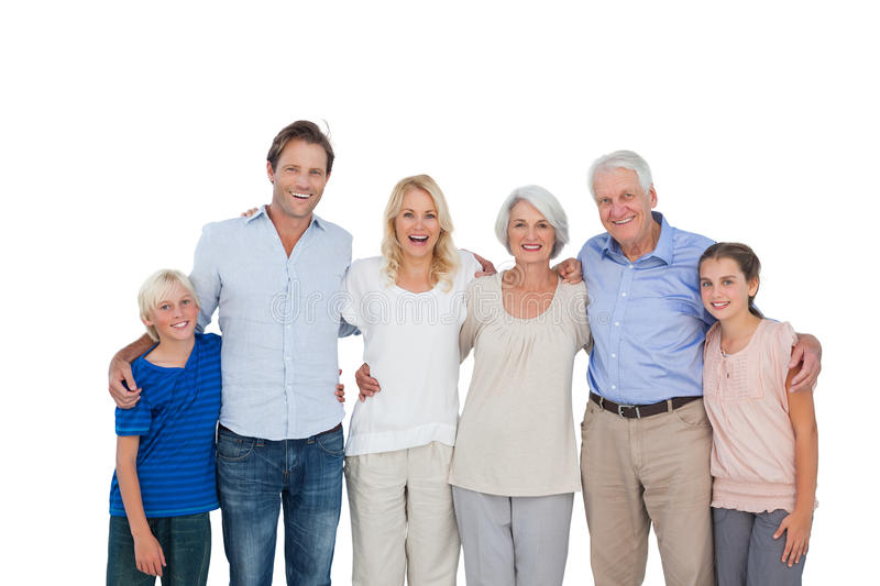 Extended family gesturing stock photo