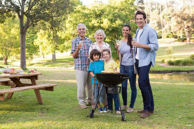 Extended family having a barbecue royalty free stock photos