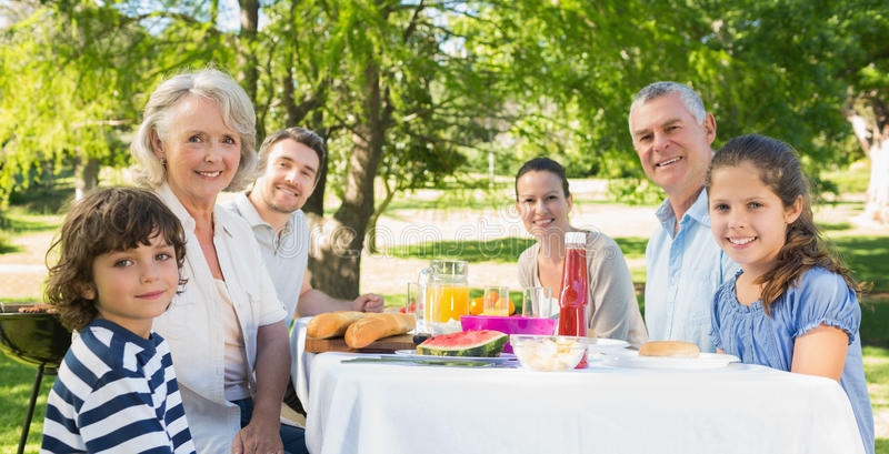 Extended family having lunch in the lawn royalty free stock photography