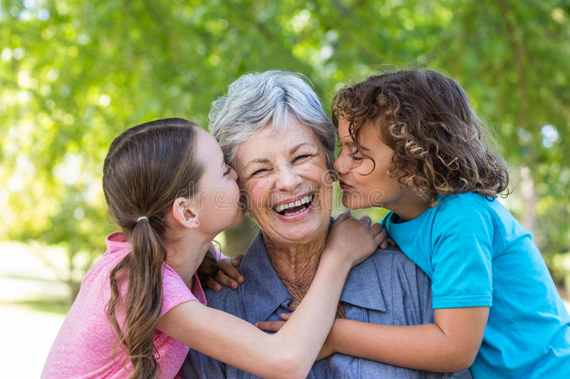 Extended family smiling and kissing in a park stock image