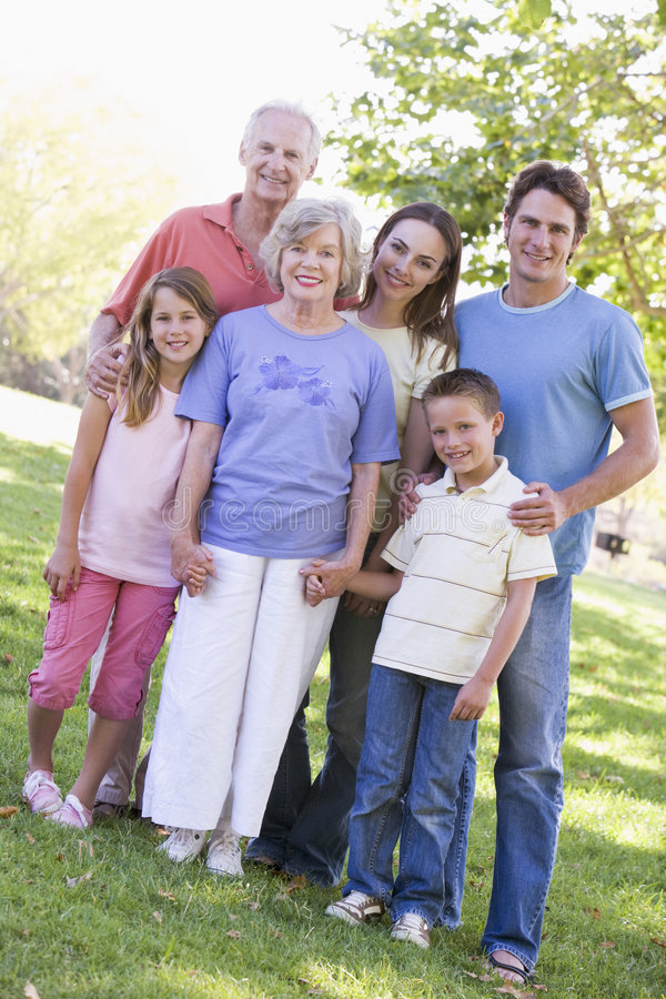 Extended family standing in park holding hands stock images