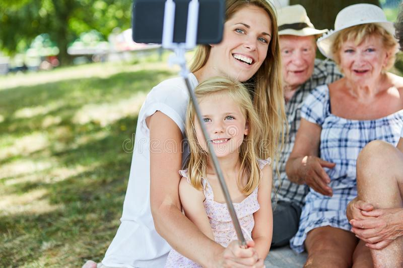 Extended family takes selfie photos stock photography