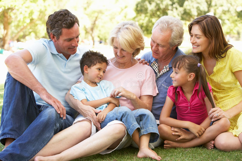 Extended Group Portrait Of Family Enjoying Day royalty free stock photography