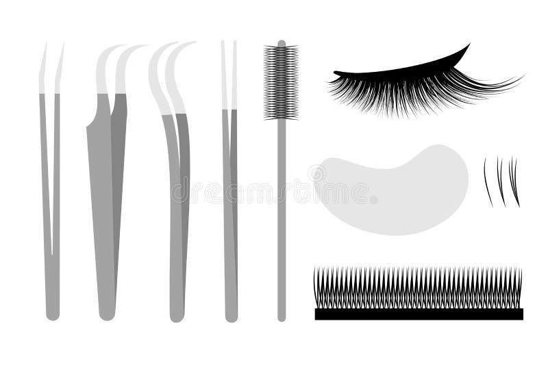 Extensão da pestana O profissional ajustado utiliza ferramentas a pinça ilustração royalty free