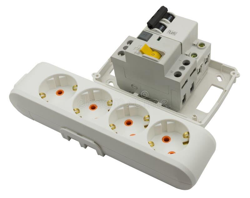 Extensão elétrica e interruptor automático imagens de stock