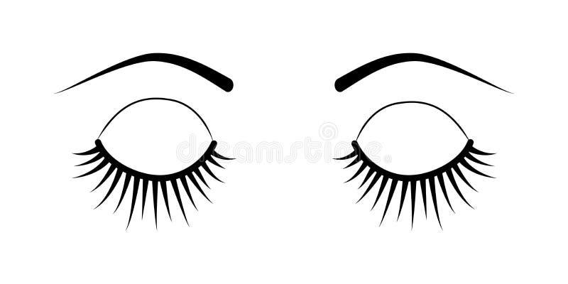 Extensões fechados da pestana dos olhos ilustração do vetor