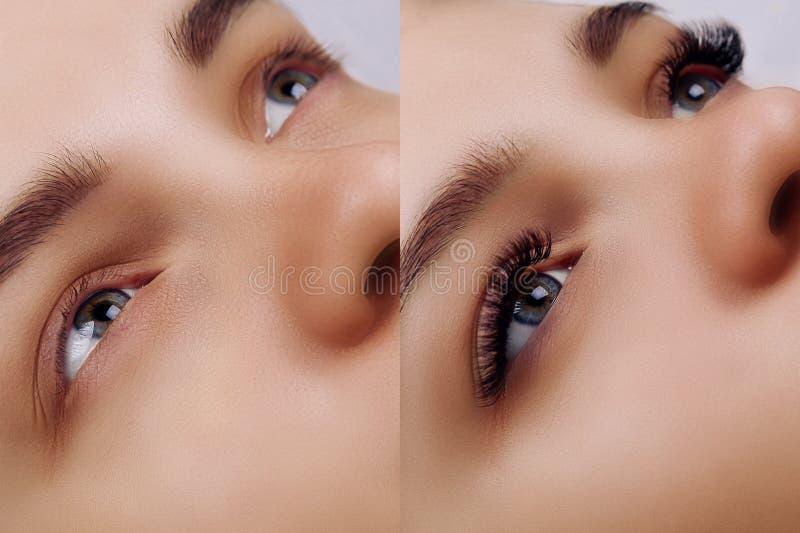 Extens?o da pestana Compara??o dos olhos f?meas antes e depois foto de stock
