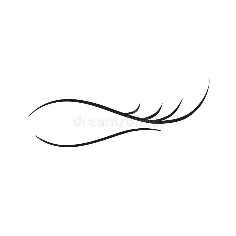 Extensión de la pestaña en el icono blanco del logotipo del fondo stock de ilustración