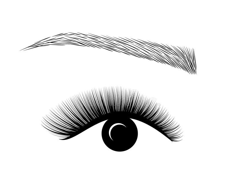 Extensión de Logo Eyelash Un maquillaje hermoso Rimel para el volumen y la longitud ilustración del vector