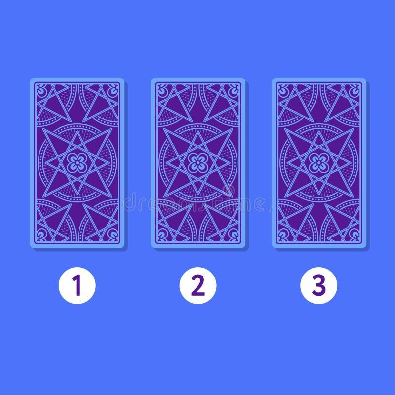 Extensión del tarot de tres tarjetas Cierre para arriba stock de ilustración