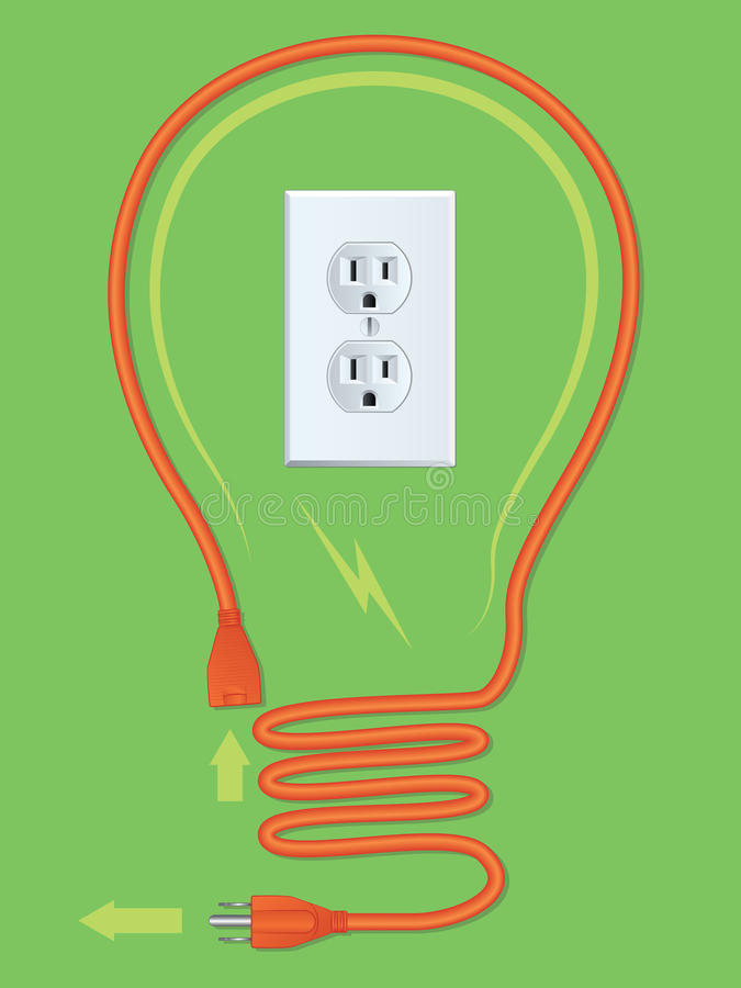 Download Extension Cord Light Bulb stock vector. Illustration of charge - 27200241