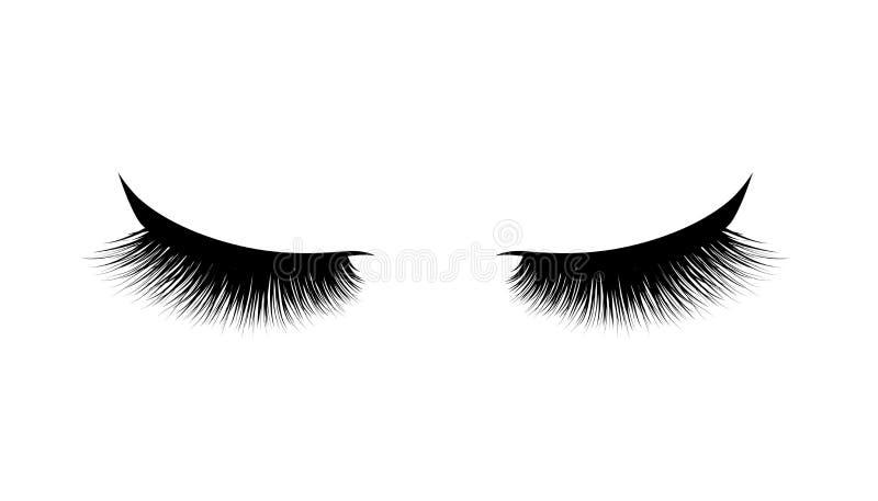 Extension de cil Beaux longs cils noirs Oeil fermé Cils faux de beauté Effet naturel de mascara Charme professionnel mA illustration libre de droits