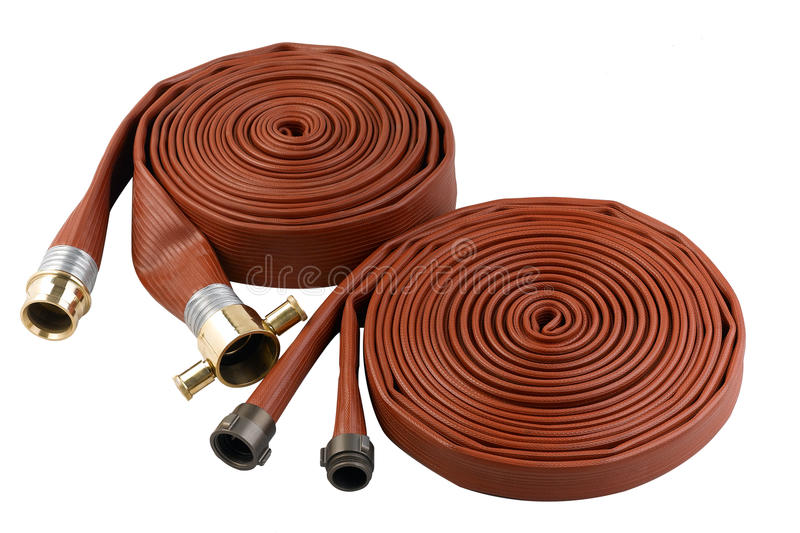 Extension fire hose water pipe stock photos