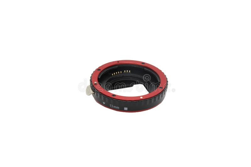 13 mm extension ring for macro photography on a white background stock images