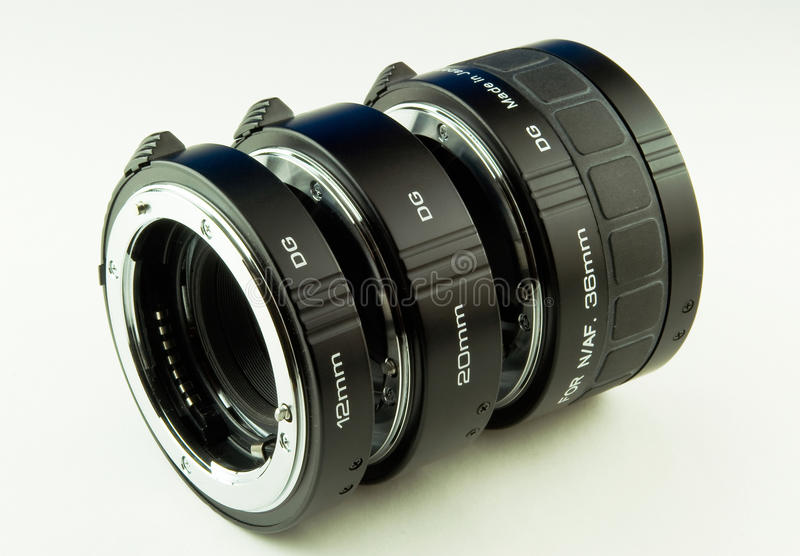 Extension tubes. On white isolated background stock photography