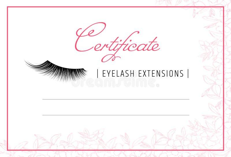 Extensiones de la pestaña del diploma Plantilla del certificado del maquillaje cursillos de la escuela o de perfeccionamiento de  ilustración del vector