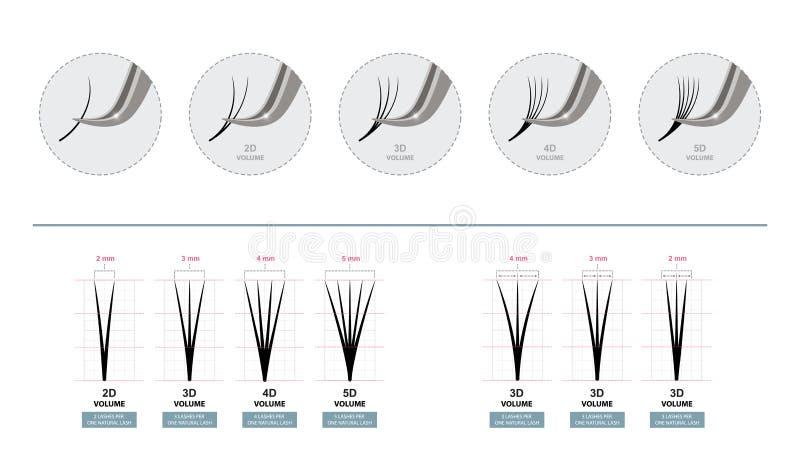 Extensiones de la pestaña del volumen Latigazos artificiales Amo de los trabajos de extensiones de la pestaña con las pinzas Ilus libre illustration