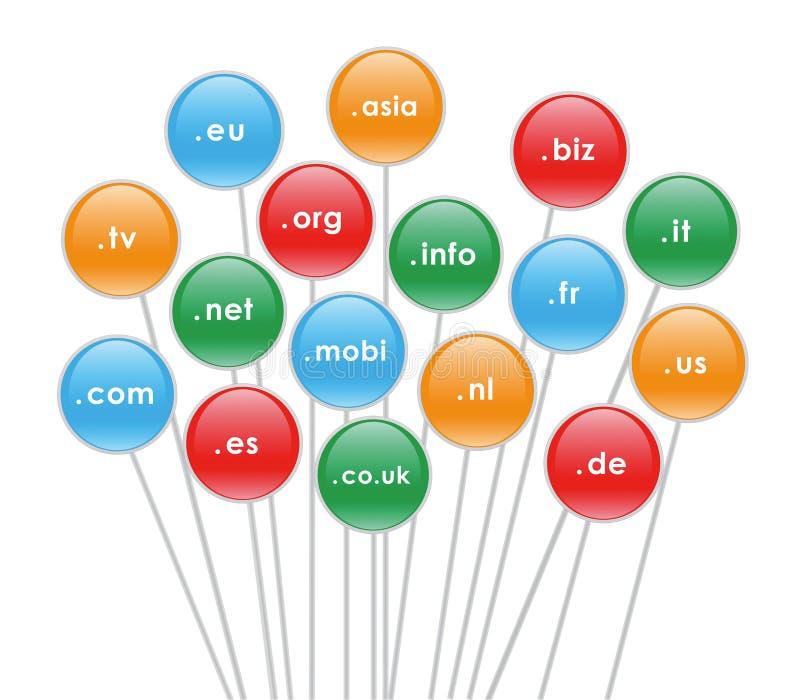 Extensiones del ámbito de Internet stock de ilustración