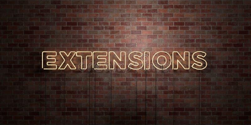 EXTENSIONES - muestra fluorescente del tubo de neón en el ladrillo - vista delantera - imagen común libre rendida 3D de los derec stock de ilustración