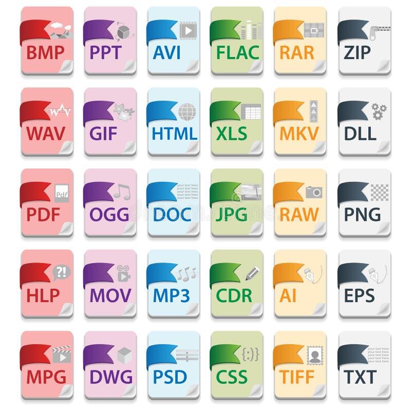 Extensions de fichier de document illustration de vecteur