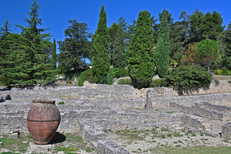 The extensive Roman ruins at Vaison-La-Romaine, Provence, France. These Gallo-Roman remains are situated in the very centre of the fascinating ancient town of stock photo