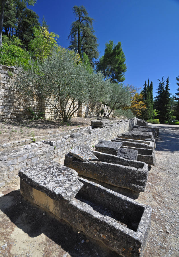 The extensive Roman ruins at Vaison-La-Romaine, Provence, France. These Gallo-Roman remains are situated in the very centre of the fascinating ancient town of royalty free stock images
