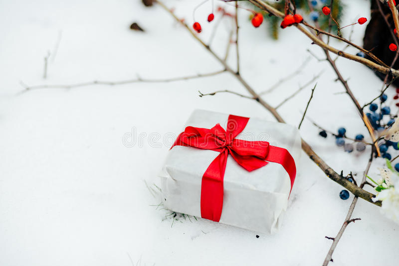 Extensive series of holiday shots with a variety of props and ba. Ckgrounds. Lots of copyspace for ads. Christmas presents on wooden table. A couple of gifts royalty free stock images