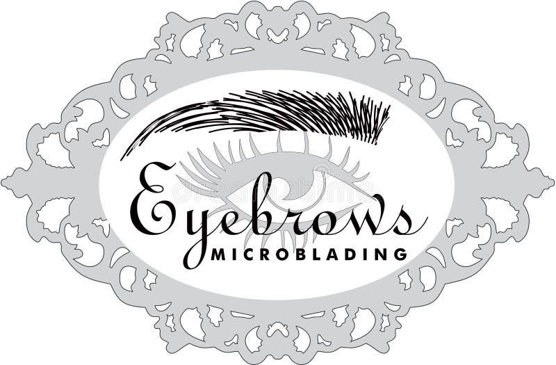 Extentions de Eyelsah e testas do cabelo dos eyebronws que microblading ilustração royalty free