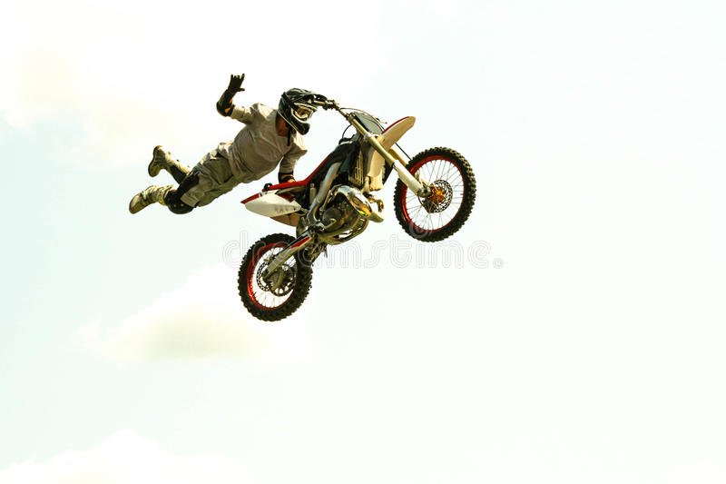 Extereme bike jump at the trial show. Motorcycle acrobatic jump at the trial show see my portfolio for more royalty free stock photography