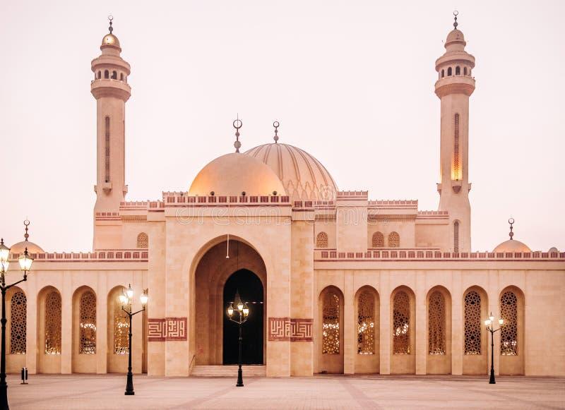 Exterior of Al Fateh grand mosque in evening. Manama, Bahrain. Most iconic Al Fateh grand mosque in evening. Manama, Bahrain royalty free stock images