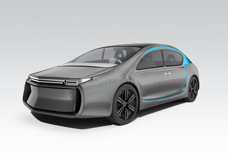 Exterior of autonomous electric car on gray background. Clipping path available. Original design royalty free illustration