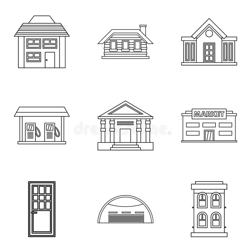 Exterior of building icons set, outline style royalty free illustration