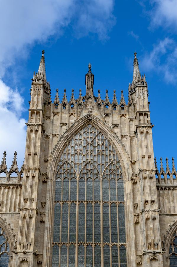 Exterior building of York Minster, the historic cathedral built in English gothic style located in City of York, England, UK. Elaborate tracery on exterior royalty free stock photo