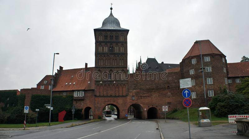 Exterior of Burgtor nothern Gate in a gothic style, beautiful architecture, Lubeck, Germany stock images
