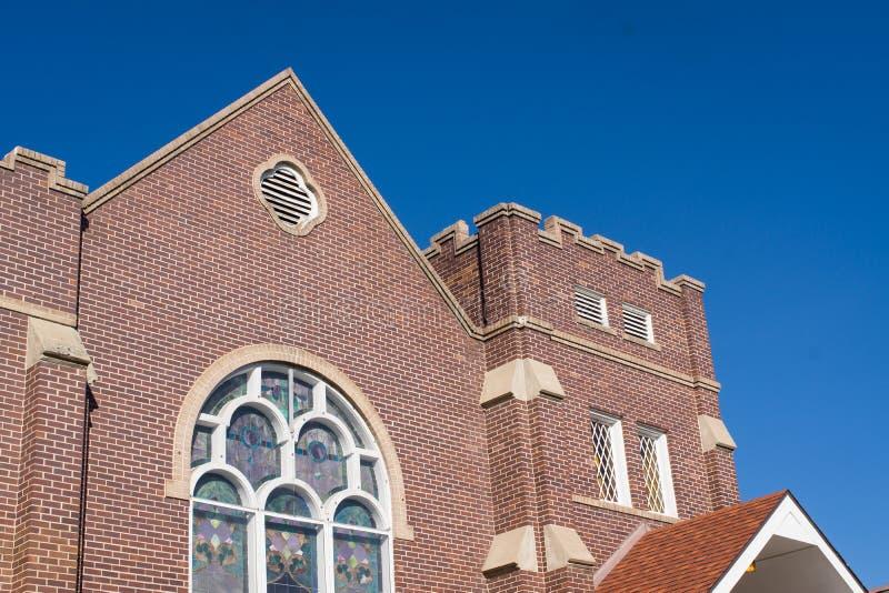 Castle style Denver Colorado church. The exterior of a castle style Denver Colorado church royalty free stock image