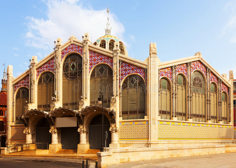 Exterior of Central Market in Valencia stock images