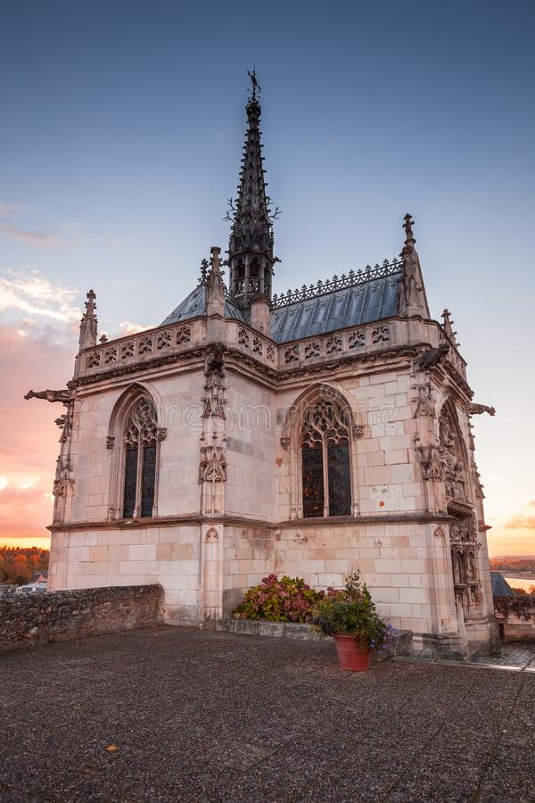 Exterior of the chapel of St Hubert. Exterior of the chapel of Saint-Hubert where Leonardo da Vinci is buried. Amboise town located in the Indre-et-Loire royalty free stock images