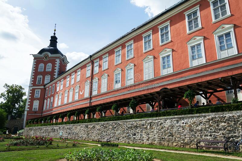 Exterior of the Chateau at Kamenice nad Lipou, Czech republic. KAMENICE NAD LIPOU, CZECH REPUBLIC - JUNE 9 2018: Exterior of the Chateau at Kamenice nad Lipou stock photography