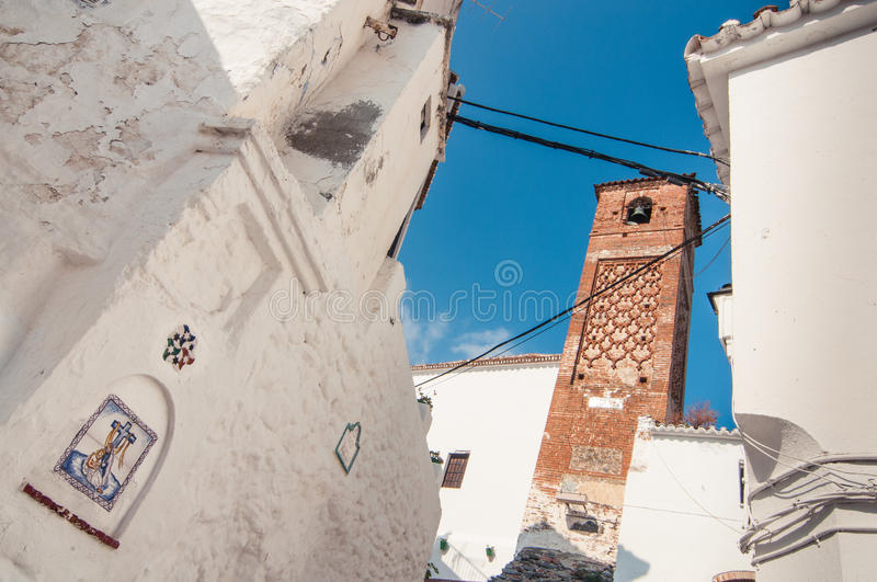 Exterior of the church and bell tower in Spain royalty free stock photos