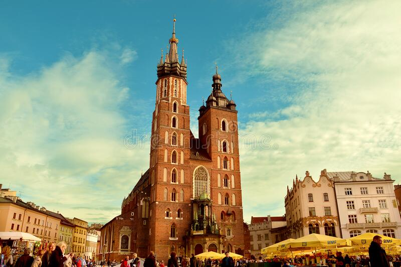 Exterior Of Church In Square, Cracow, Poland Free Public Domain Cc0 Image