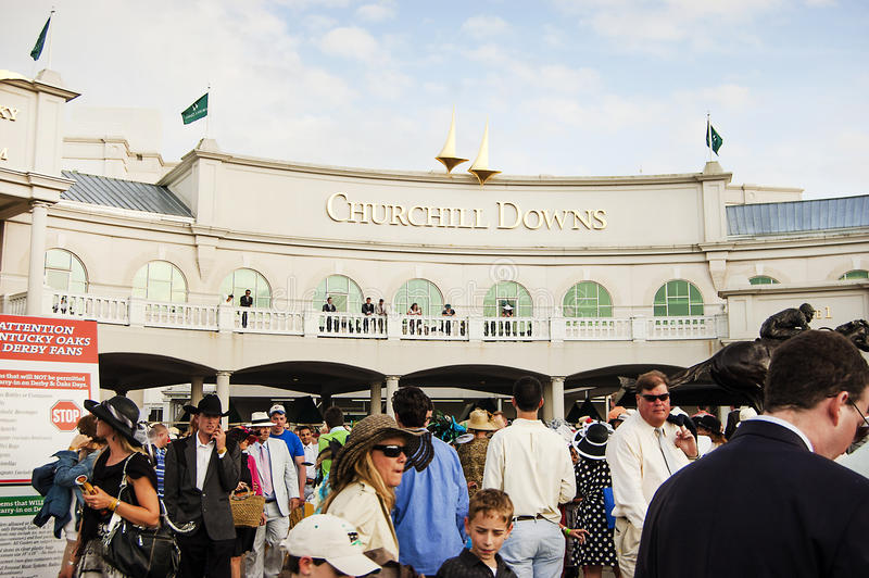 Exterior of Churchill Downs Horse Race Track in Louisville, Kentucky USA. People in Front of Churchill Downs Horse Race Track in Louisville, Kentucky USA - Home royalty free stock photos