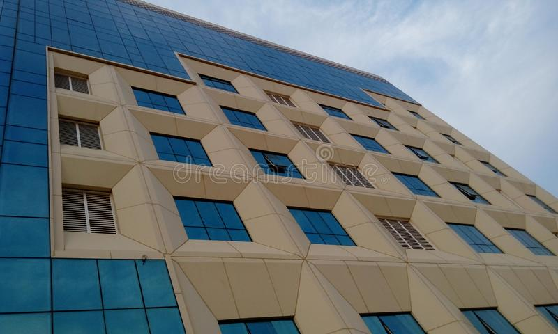 Exterior cladding of an high rise residential building and finished with an GRP cladding stock image