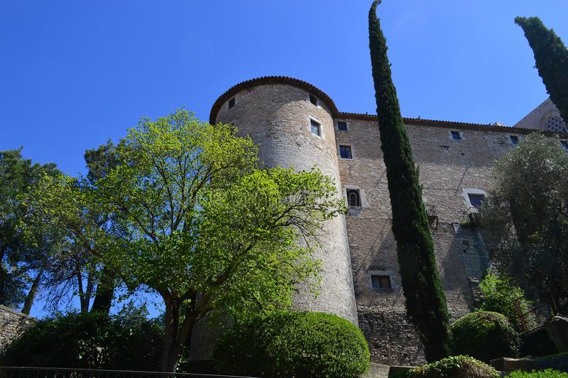 Exterior of the cloisters of the Girona Cathedral. Seen from Plaça dels Jurats, Girona, Spain royalty free stock photography