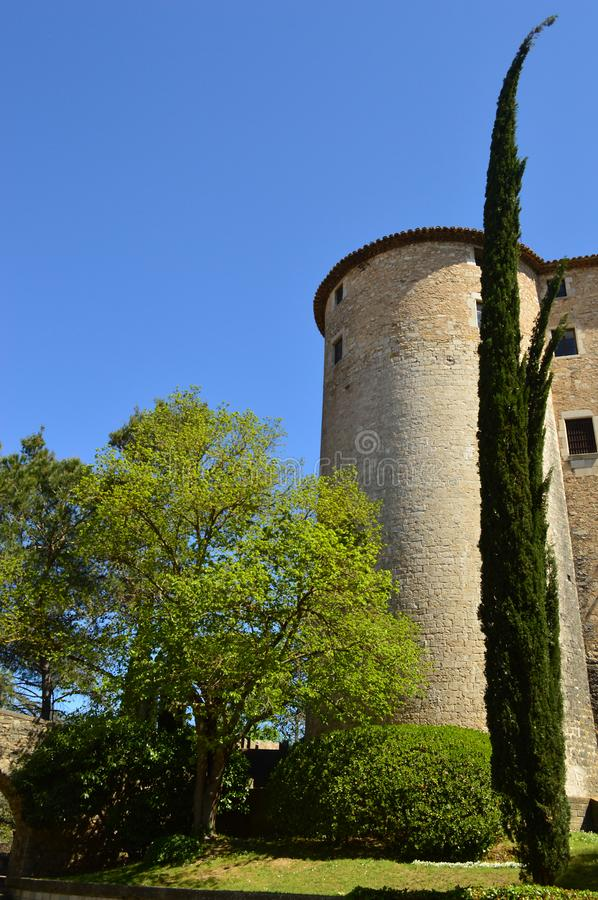 Exterior of the cloisters of the Girona Cathedral. Seen from Plaça dels Jurats, Girona, Spain royalty free stock image