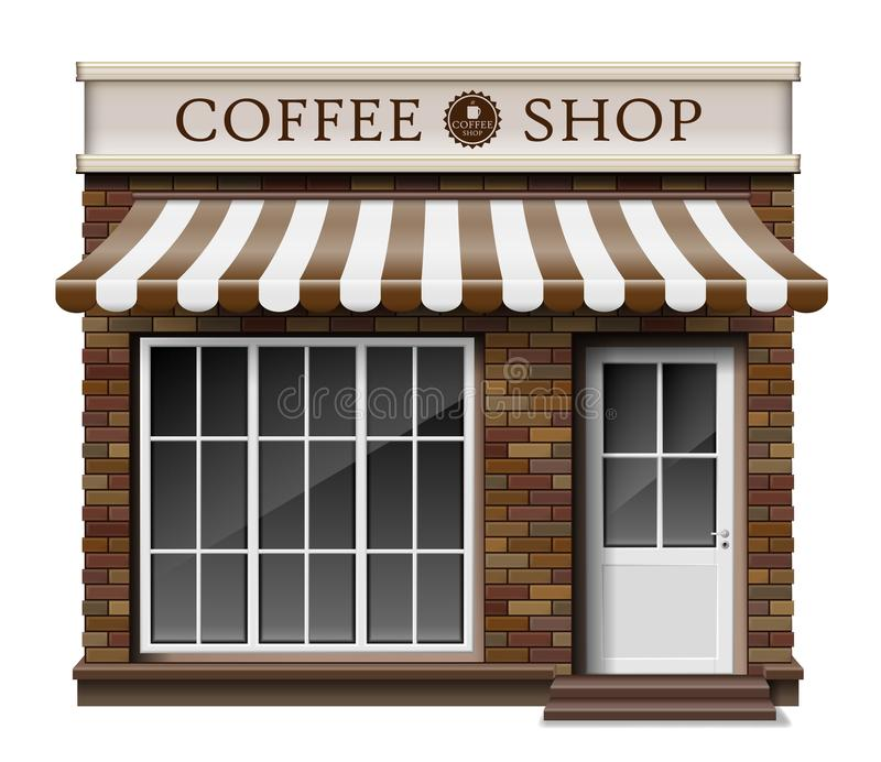 Exterior coffee boutique shop or cafe brick texture. Blank mockup of stylish realistic coffee street shop. Small 3d royalty free illustration